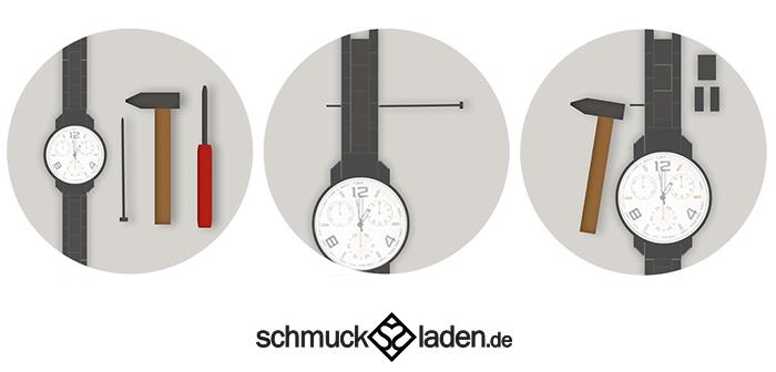 Anleitung Küren von Gliederarmband einer Uhr