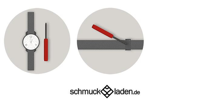 Anleitung Küren von Milanaisearmband  einer Uhr