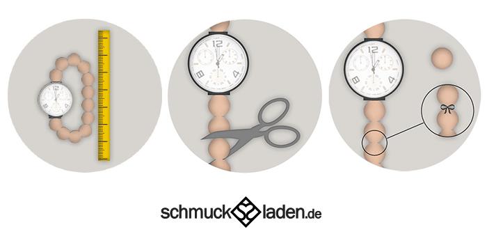 Anleitung zum Kürzen einer Uhr mit Perlenarmband