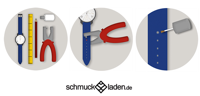 Anleitung zum Kürzen einer Uhr mit Textilarmband